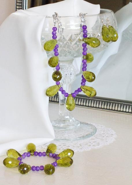Green and Purple Teardrop Set